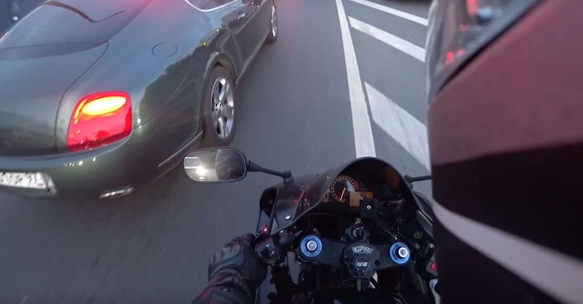 Watch this biker take matters into his own hands when a jerk in a Bentley litters for no reason
