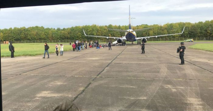 Plane with bomb hoax cleared to fly until the Royal Air Force intercepted it in mid-air