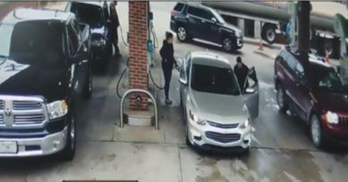 Carjacker caught on camera at gas station gets more than he bargained for and runs