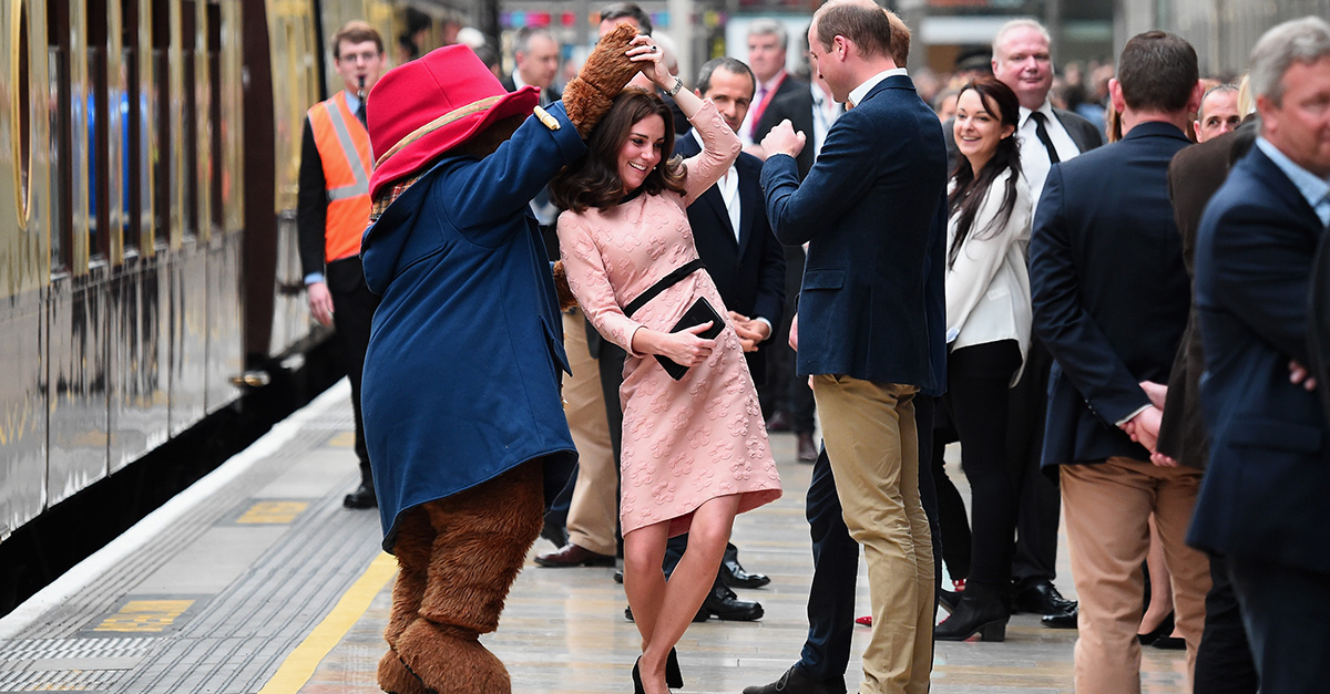 Kate Middleton dances with Paddington Bear despite battling morning sickness
