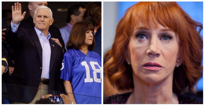 Kathy Griffin came out the woodwork to criticize VP Mike Pence for leaving a football game