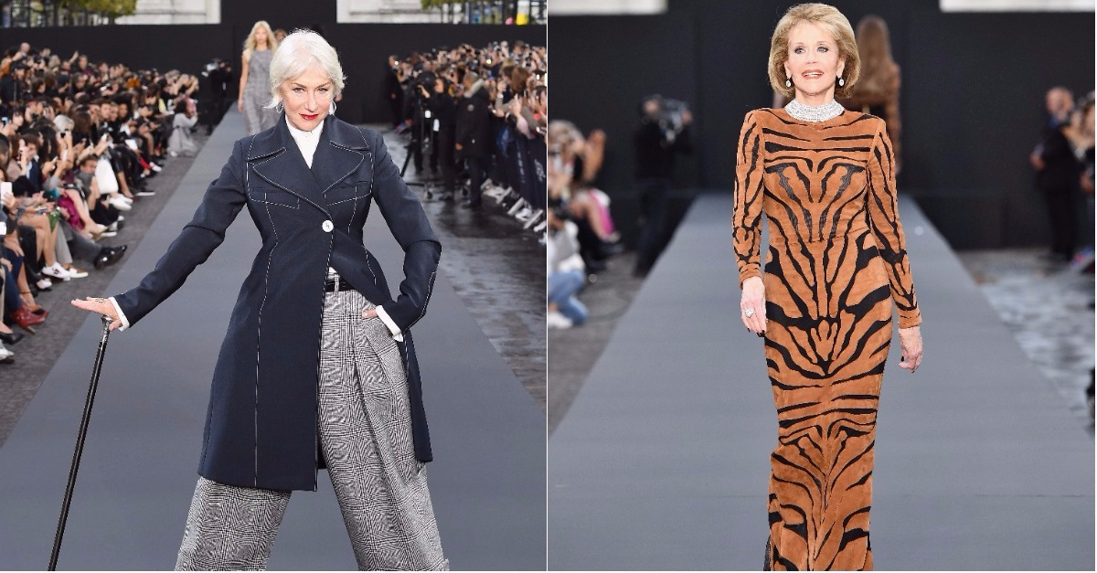 Dame Helen Mirren And Jane Fonda just walked a fashion show catwalk in Paris
