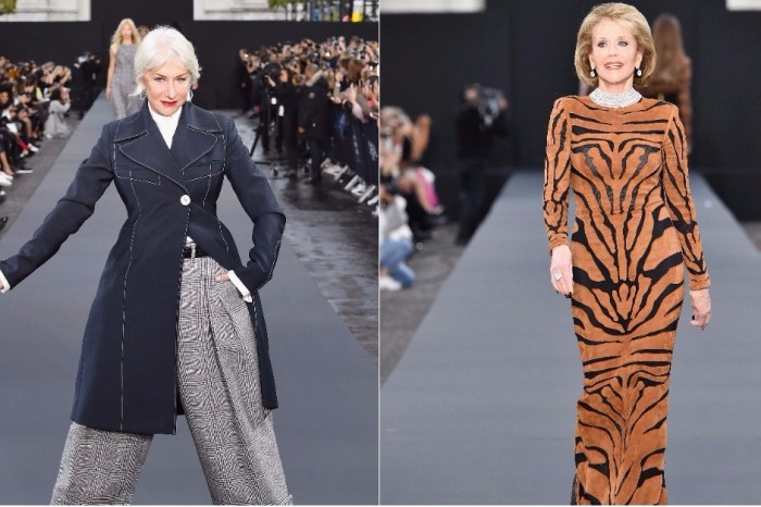 Dame Helen Mirren And Jane Fonda just walked a fashion show catwalk in Paris