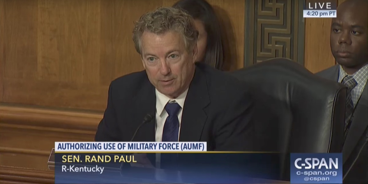 """Rand Paul challenges Rex Tillerson and James Mattis to end """"open-ended war"""""""