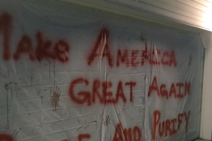 People are freaking out about this homeowner's MAGA Halloween garage display