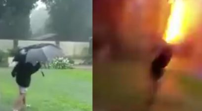 Video Captured by Mom Shows Lightning Bolt Almost Kill Her Son