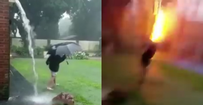 Insane video captured by mom shows the lightning bolt that almost killed her son