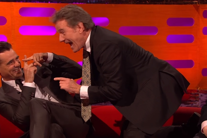 Bryan Cranston invaded Colin Farrell's personal space while recounting a naughty sex story