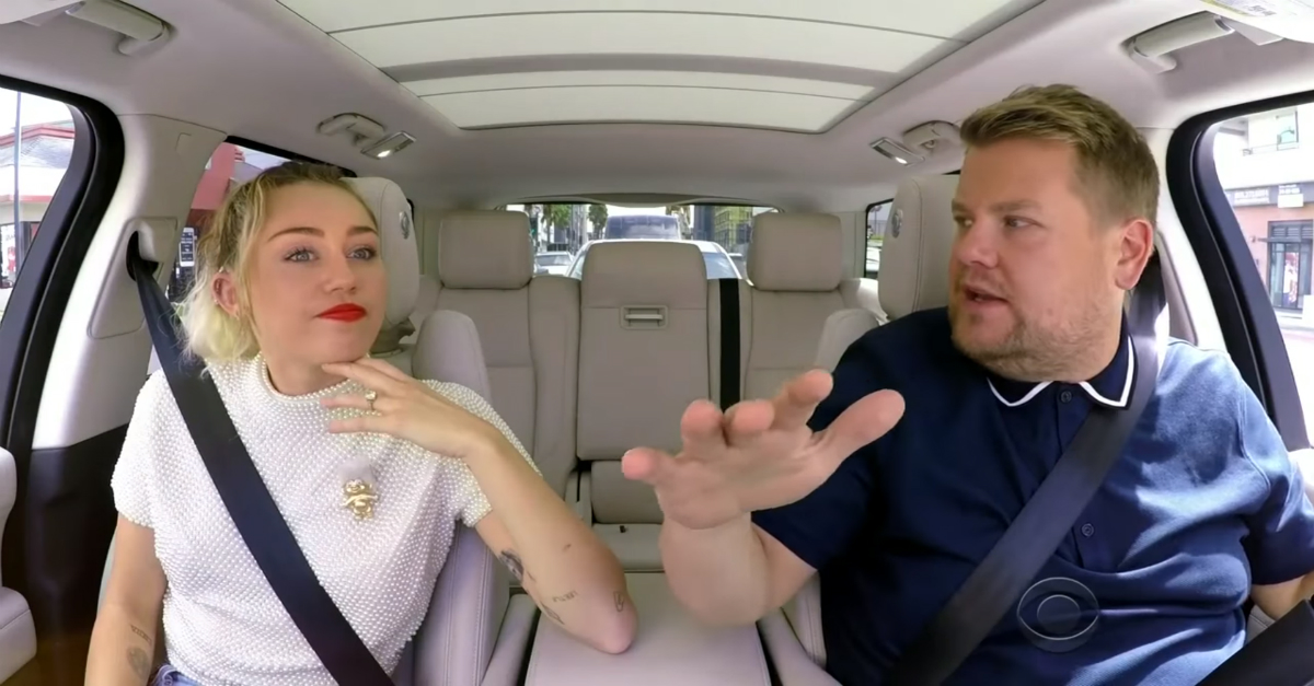 "Miley Cyrus ventured to L.A. to help James Corden dodge traffic on ""Carpool Karaoke"""