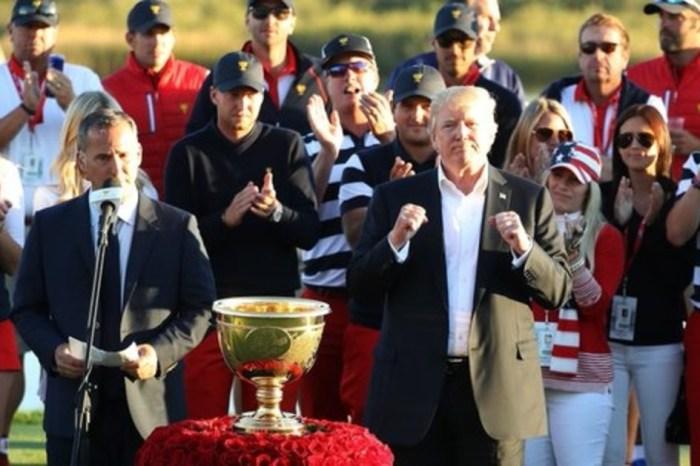 Trump dedicates golf trophy to hurricane survivors in Texas, Florida and Puerto Rico