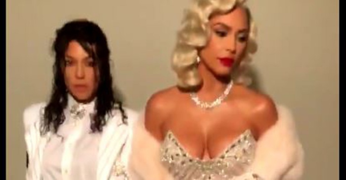 Kourtney and Kim Kardashian's costumes slayed for Halloween. Can you guess who they are?