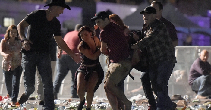 First images come in of chaos after reported mass shooting at Las Vegas country music festival