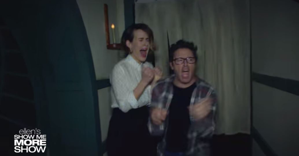 "Utube- Ellen Degeneres Halloween Haouted House 2020 Sarah Paulson and ""Ellen"" Producer Andy Get Scared in a Haunted"