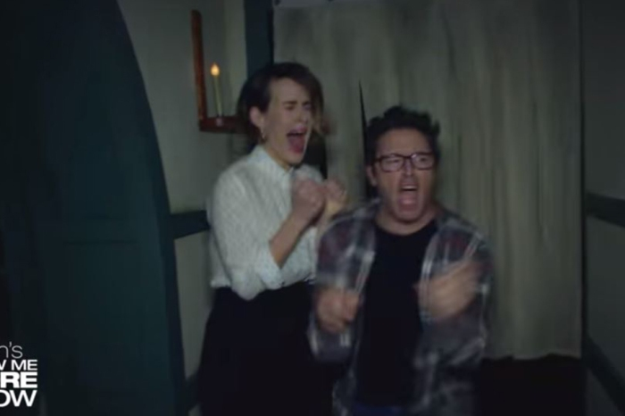 Watch Ellen's Producer Andy and Sarah Paulson Scream Their Way Through a Haunted House