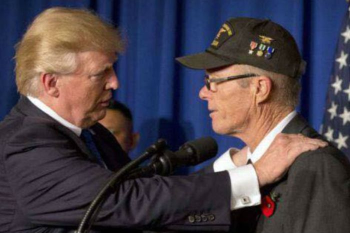 Rewatch the emotional moment between a veteran and President Trump in Vietnam