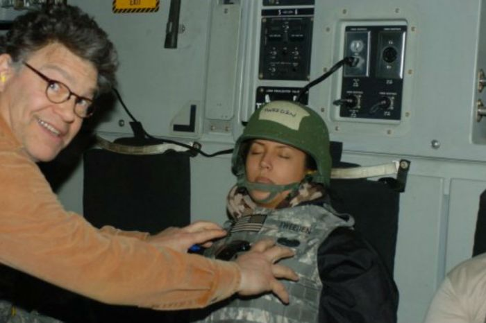 Al Franken tries to explain himself after the world sees a photo of him groping a woman