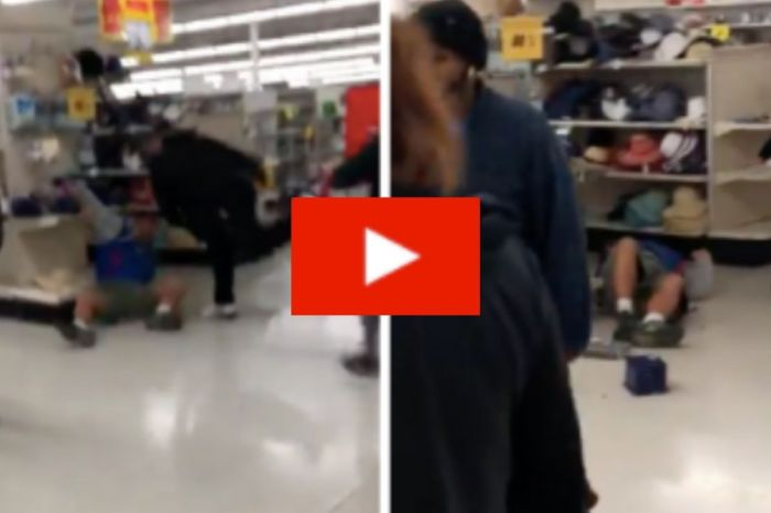Man Lands On Shelving Unit During Black Friday Fight at Kmart