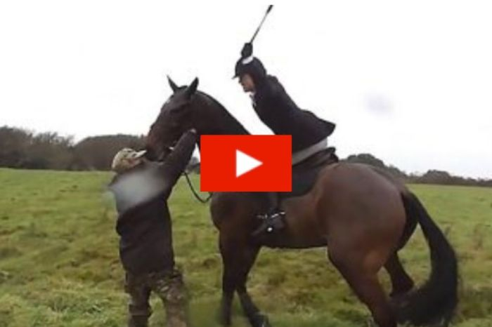 Huntswoman Whips a Saboteur With Her Riding Crop During Fight