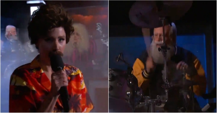 """David Letterman"" and ""Magnum, P.I."" perform a metal version of a song from ""Frozen"""