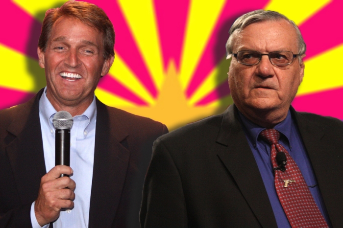 A legal battle is brewing between an anti-Trump senator's son and Sheriff Joe Arpaio