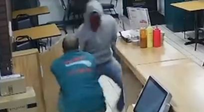 Brave Pizza Shop Owner Almost Shot as He Fought Off Armed Robber in His Store