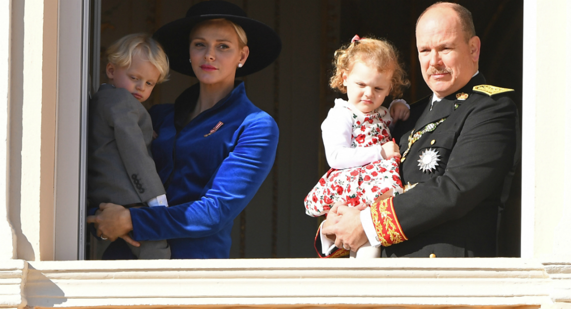 Monaco's cheeky royal twin toddlers steal their parents' thunder during a huge national celebration