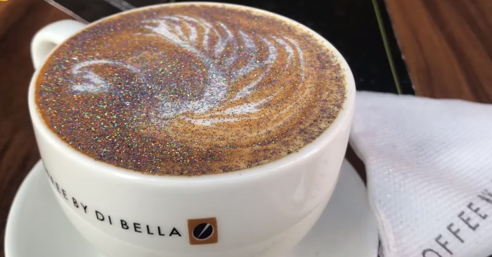 What's better than coffee for lifting your mood? Glitter coffee!