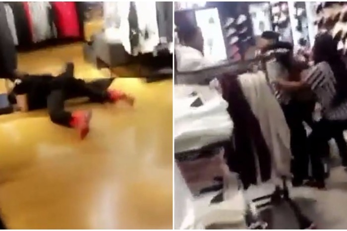 Shoes were flying as a brawl between drunken customers and employees spun wildly out of control