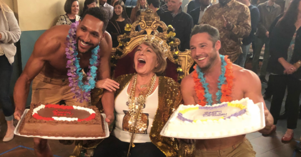 """""""Roseanne"""" cast and crew give their leading lady the royal treatment on her birthday"""