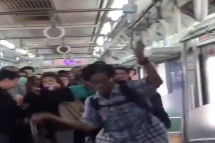 A man casually killed a snake while riding a train full of scared commuters