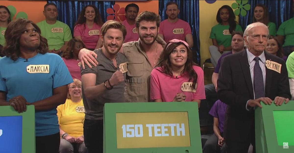 "Liam Hemsworth gatecrashes an ""SNL"" skit featuring his fiancée Miley Cyrus"