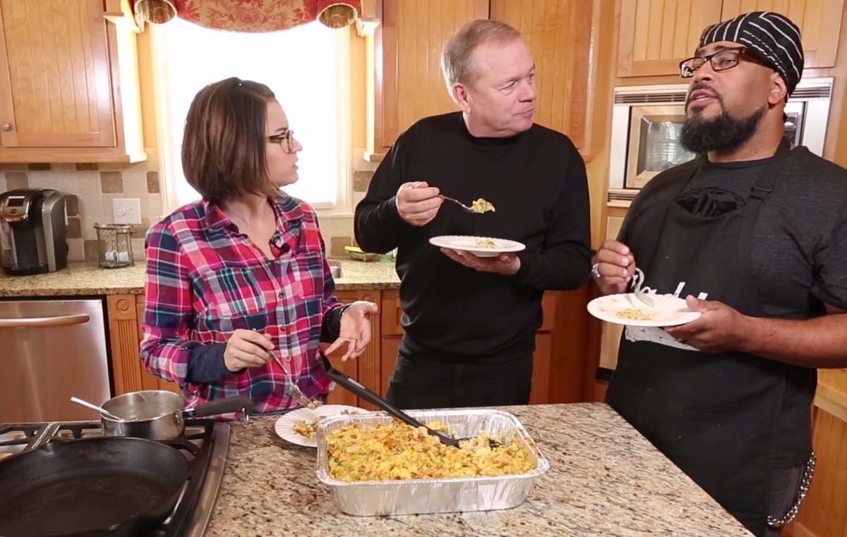 With a little help from Big Mama, Tyson makes the best cornbread stuffing we've ever tasted