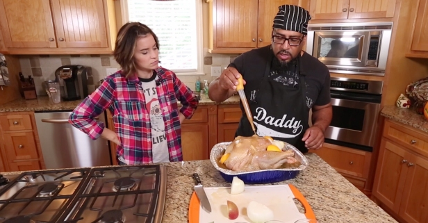 Tyson overcomes his fear of touching raw meat to make Big Mama's apple bottom bird for Thanksgiving