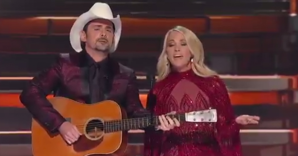 The CMAs had barely started before the hosts got in their first jab at President Trump