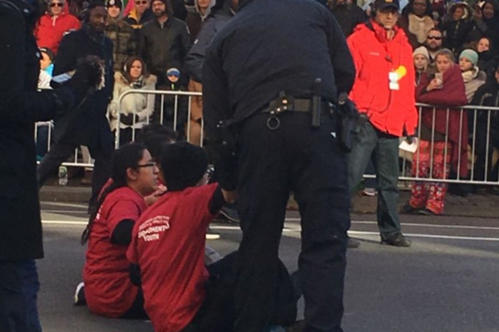 Dreamers tried to disrupt the Macy's Thanksgiving Day Parade as people cheered
