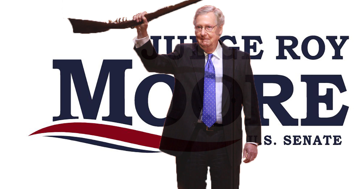 Roy Moore continues to bash Mitch McConnell as he fights his way into the swamp