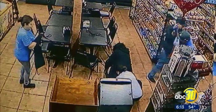 A supermarket's surveillance video showed the moment a mom gave birth on a butcher's apron