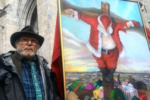 Crucified Santa Claus Painting Outside Historic Cathedral Outrages Churchgoers