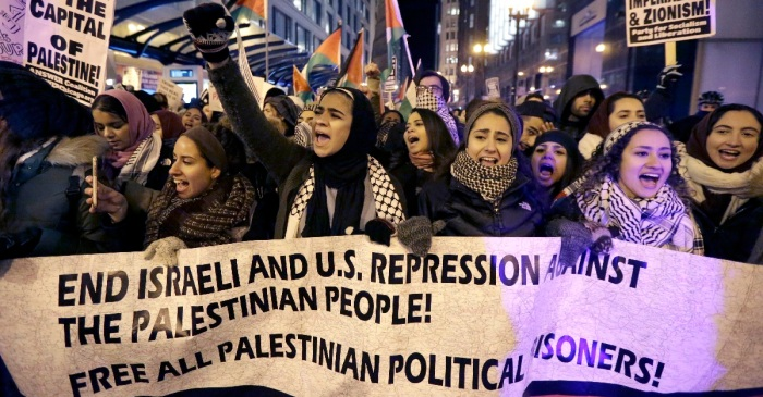 Protestors block downtown streets in response to Trump's Jerusalem announcement