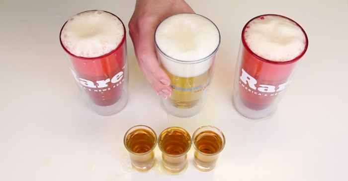 Can you drink 3 beers faster than a friend can finish 3 shots? You can with this nifty bar trick