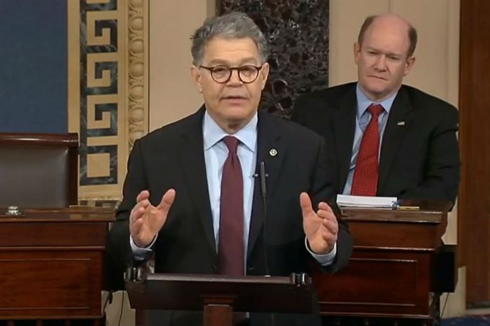 Al Franken spent his last moments on the Senate floor taking shots at the Trump administration