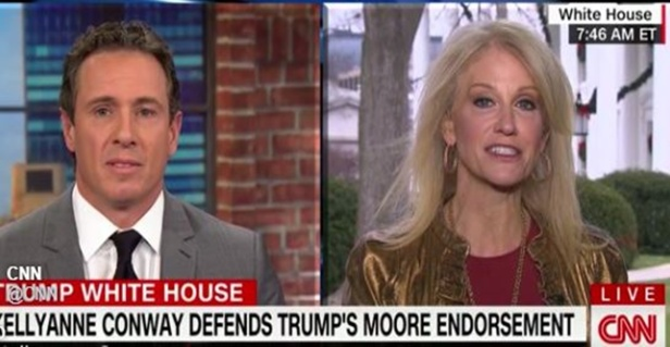 "Conway says Trump has ""tremendous moral standards"" during contentious interview over his support of Moore"