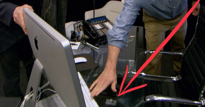 Is this the secret button on Matt Lauer's desk that he allegedly used to lock women in his office?