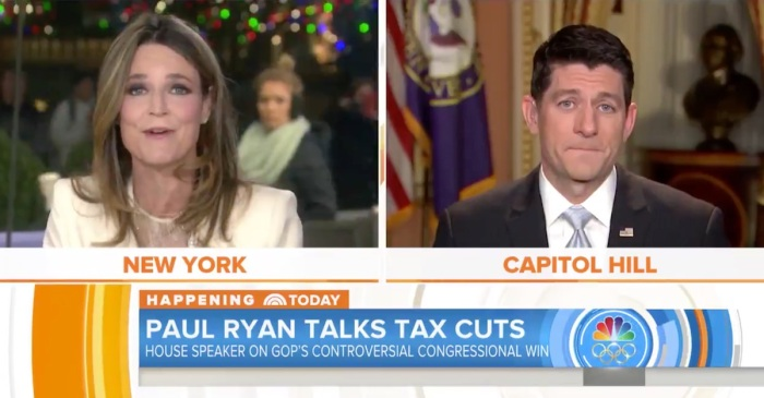 """TODAY"" host's Paul Ryan interview on the tax bill got awkward with one question"