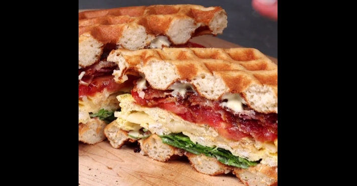 Every item on this epic breakfast sandwich is cooked in a waffle maker