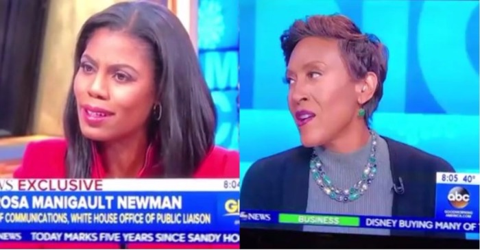 """GMA's"" Robin Roberts isn't buying Omarosa Manigault's story about why she left the White House"