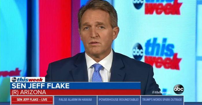 Republican Senator Jeff Flake is actually comparing President Trump to Joseph Stalin