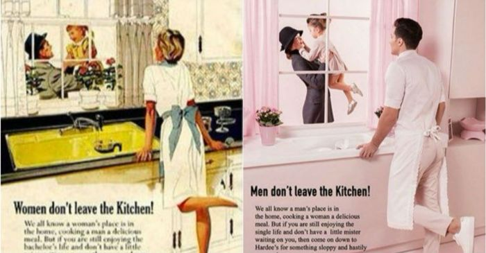 Someone just reversed the gender roles in old, sexist ads, and we love it