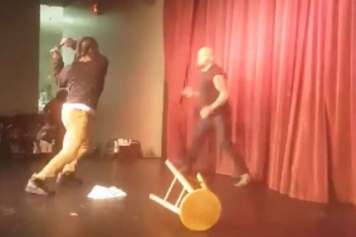 No one was laughing when an irate member of the audience decided to attack comedian Steve Brown