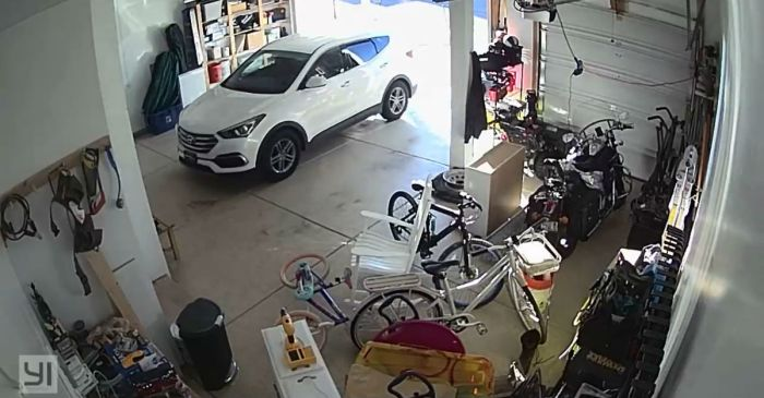 This video shows why you should always keep your garage door closed